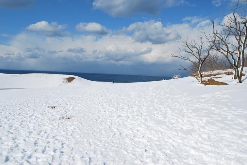 雪の鳥取砂丘 馬の背 右
