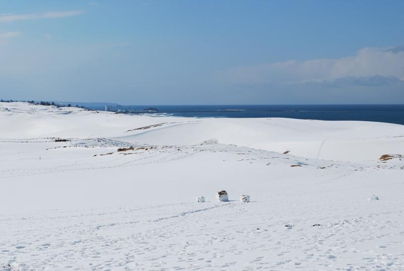 雪の鳥取砂丘 馬の背 さらに左